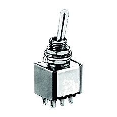 NTE 54-306 Toggle Switch - SP3T - 6A 125VAC - ON ON ON - Epoxy Sealed Solder Terminals